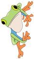 A green frog clinging to the left side of the page