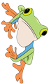 A green frog clinging to the right side of the page